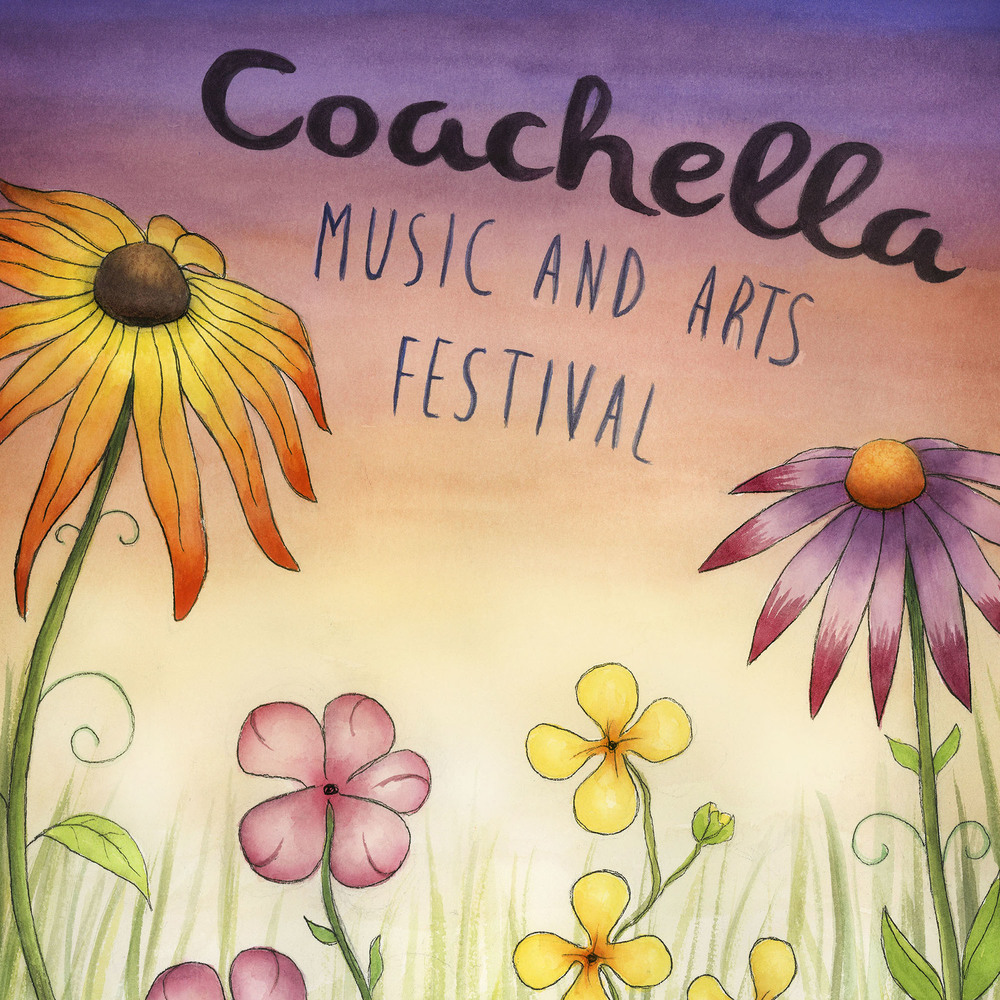 Coachella Festival Poster: Watercolor, ink, and digital media.
