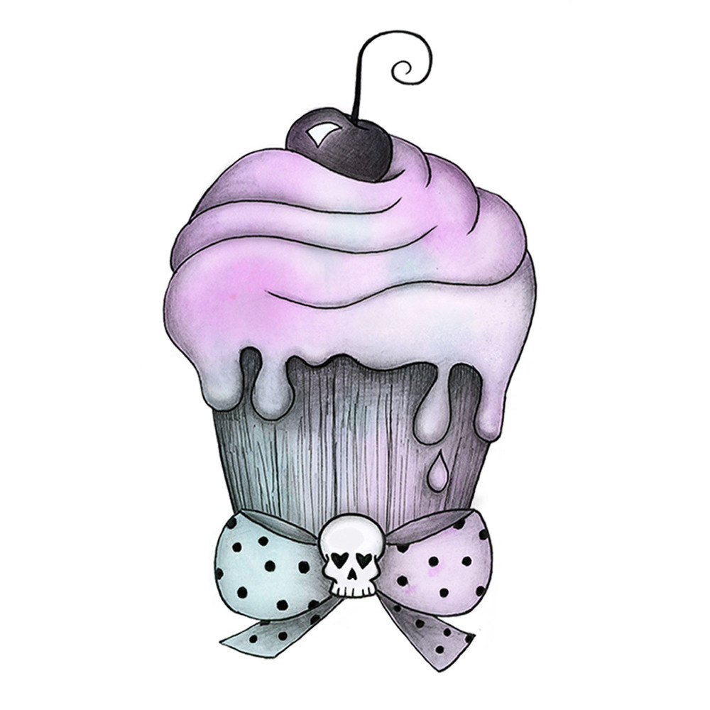 Cupcake Logo: Watercolor, graphite, and digital media.