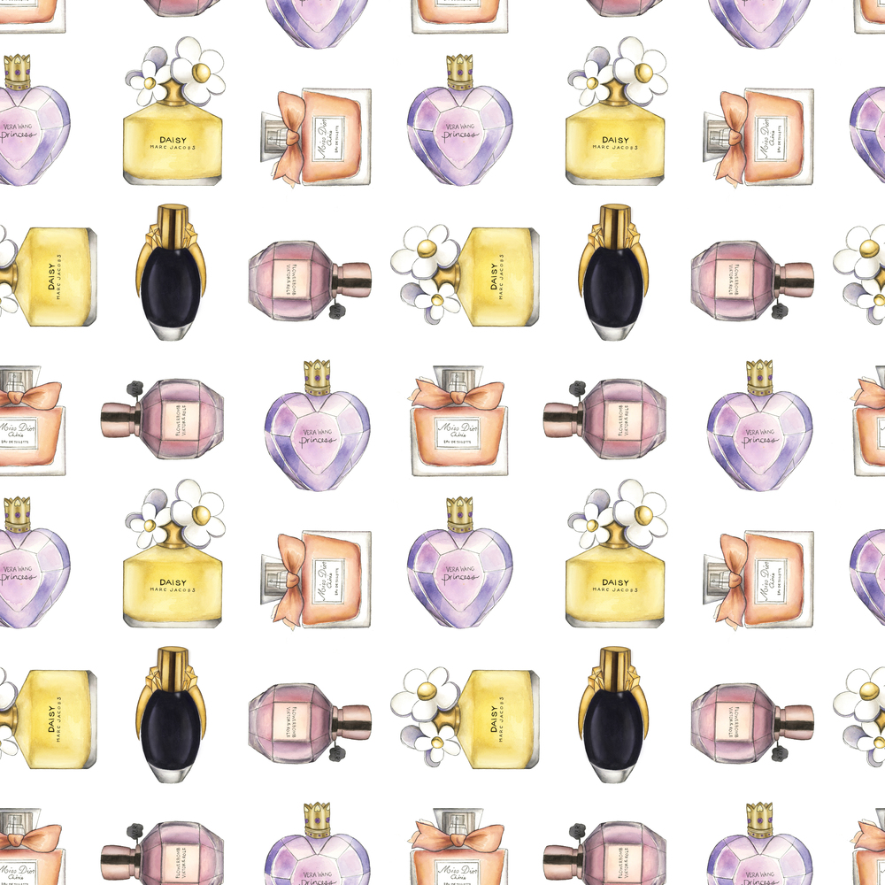 Perfume Pattern: Pattern based on spot illustrations of different perfume bottles. Watercolor, micron pens, and digital media.