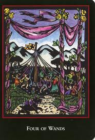 World Spirit Tarot Four of Wands Pictures a Maypole