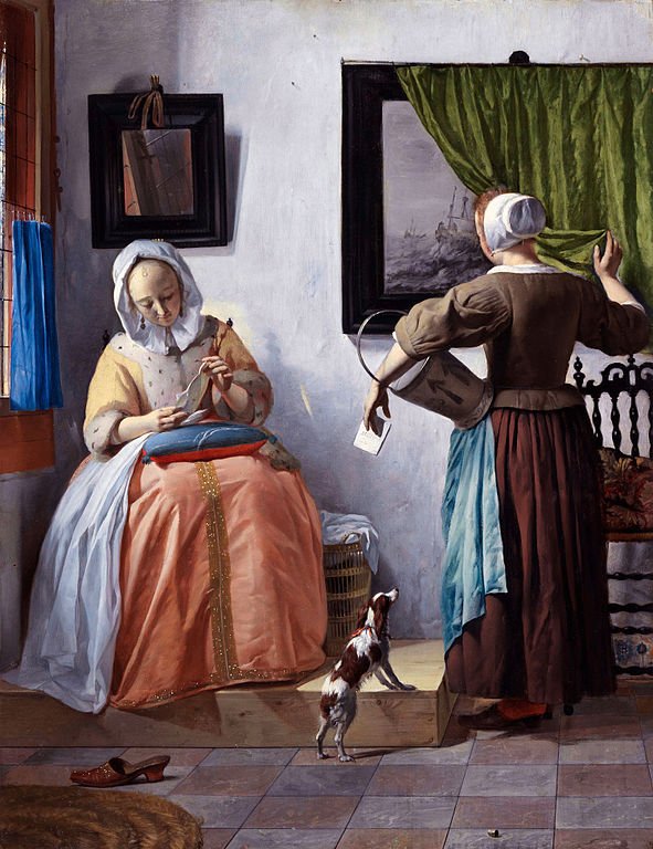 Woman Reading a Letter  circa 1664-1666, artist Gabriel Metsu, painting and representative photo public domain, currently on display National Gallery of Ireland.
