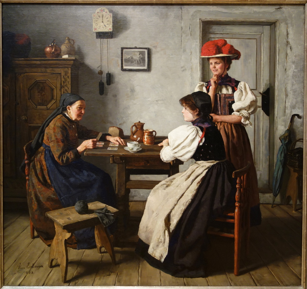 """At the Fortune Teller's"" by Alma Erdmann, 1900, Public Domain via Wikimedia Commons"