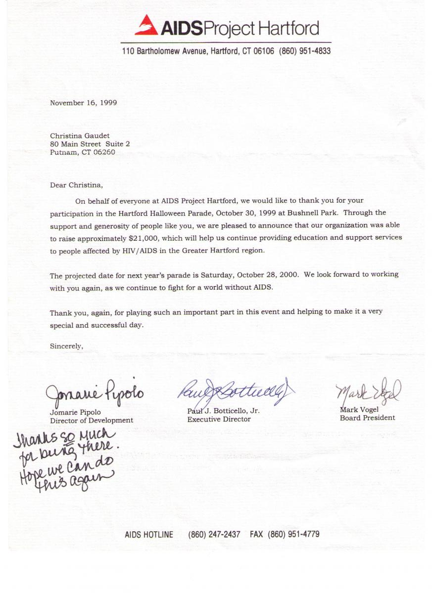 Aids Project Hartford Thank You Letter 1999