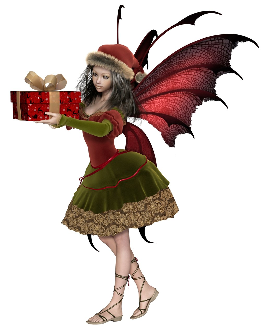 Christmas Fairy Elf Girl Holding a Gift - fantasy illustration