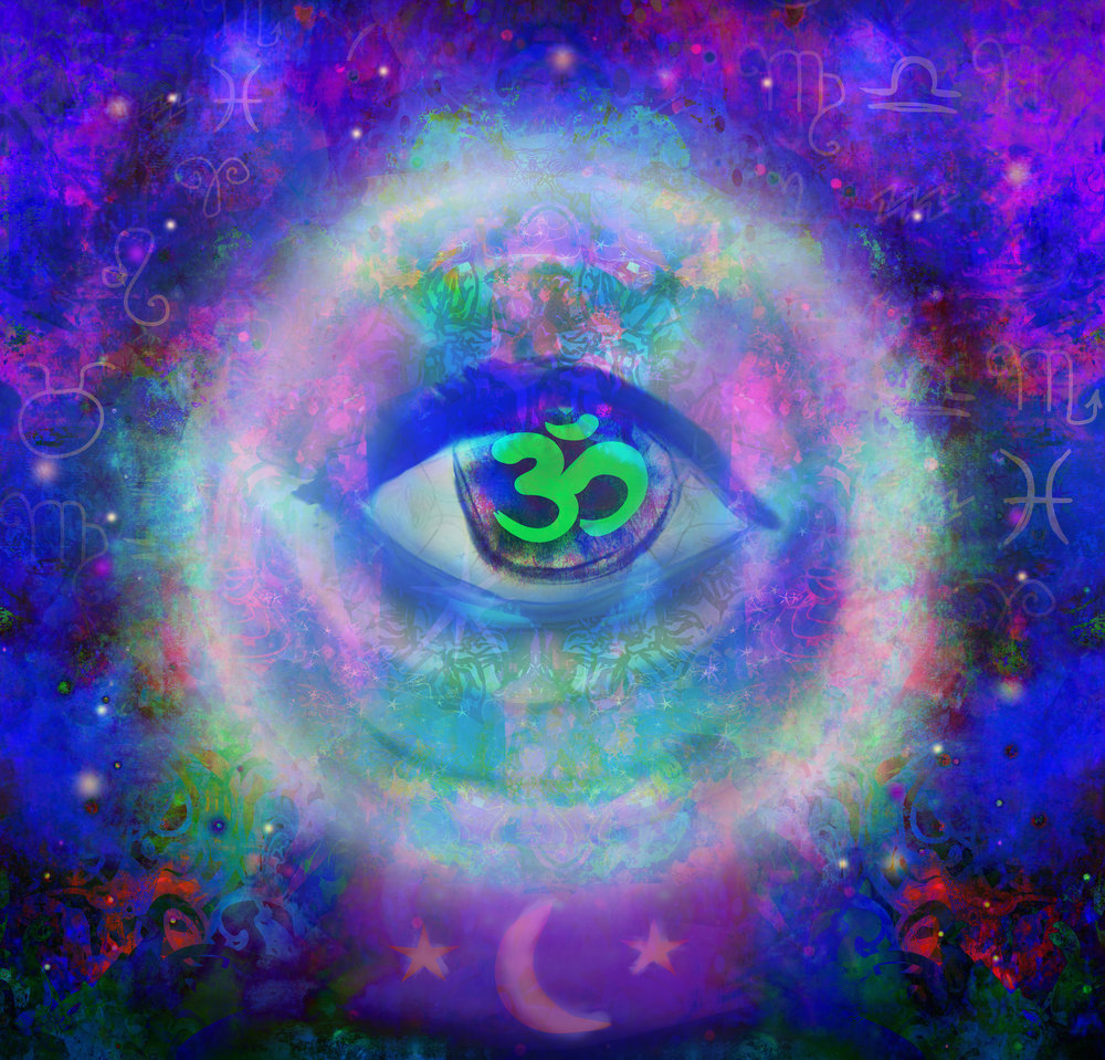 illustration of a third eye mystical sign in glass sphere