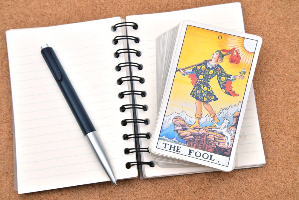 Tarot cards - The Fool , on book