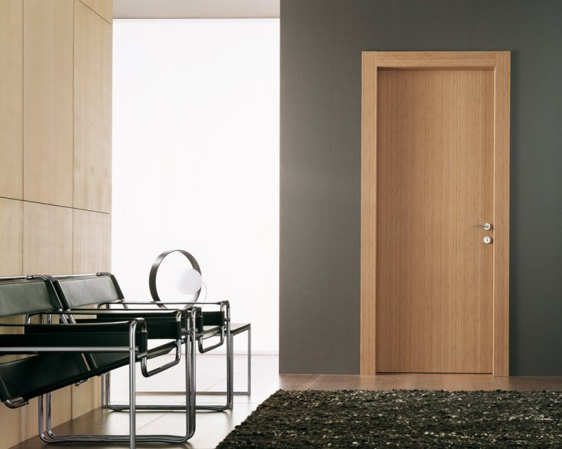 Wooden door in modern, stylish office environment