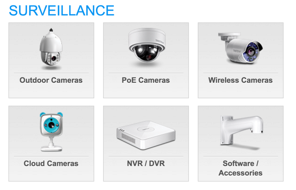 Surveillance products at TrendNet