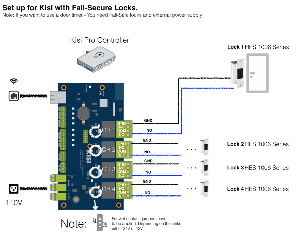 How to set up Kisi with a fail secure electronic lock - wiring directly from the access control board to the door