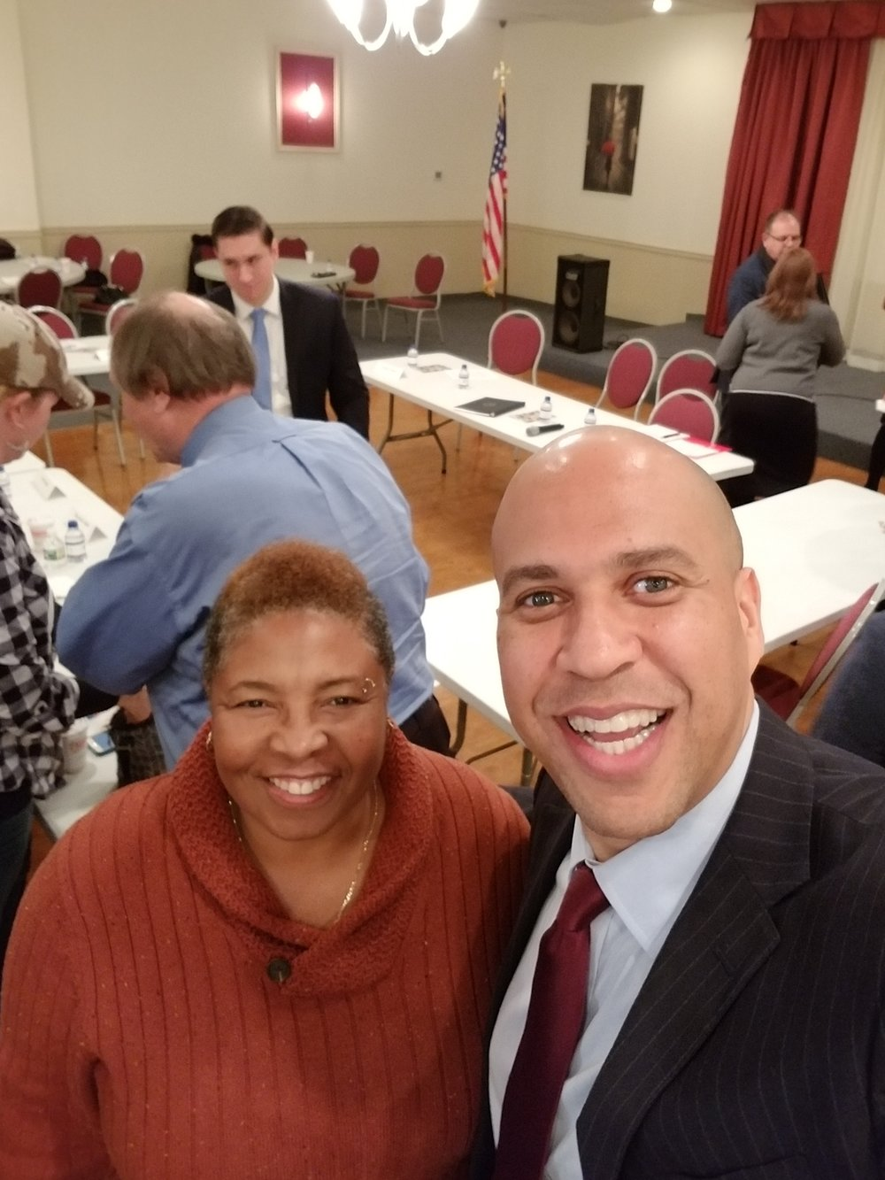 Verna Martin, Director of THE VETS CHAT AND CHEW PROGRAM, at a discussion seminar with Senator Cory Booker, about how to better women veterans healthcare within the VA healthcare system. November 10, 2017 at Garfield Post 2867, Garfield, NJ.