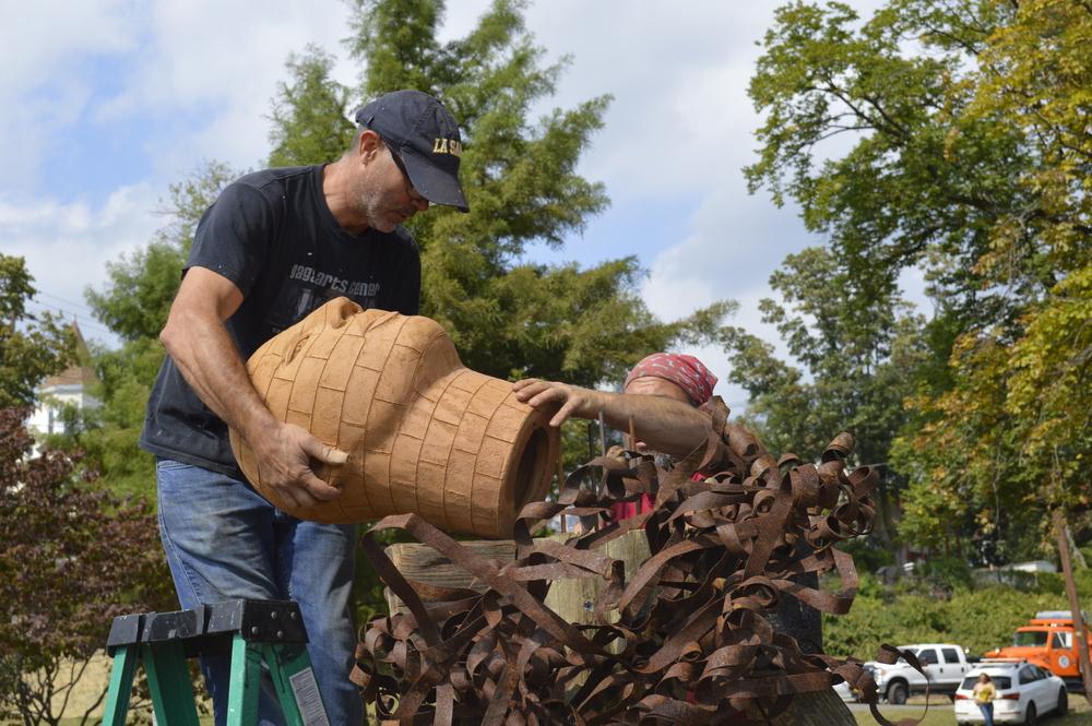 James Tyler & Eric Laxman constructing sculpture #1