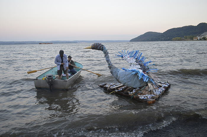 "What else would you do with a ""bird"" sculpture but set her on a raft along the Hudson River."