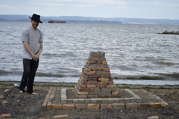 Justin Calder and his bonfire sculpture