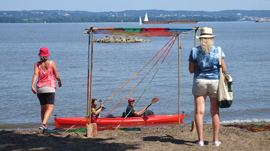 What a perfect day to view some outdoor art from a kayak on the Hudson River.