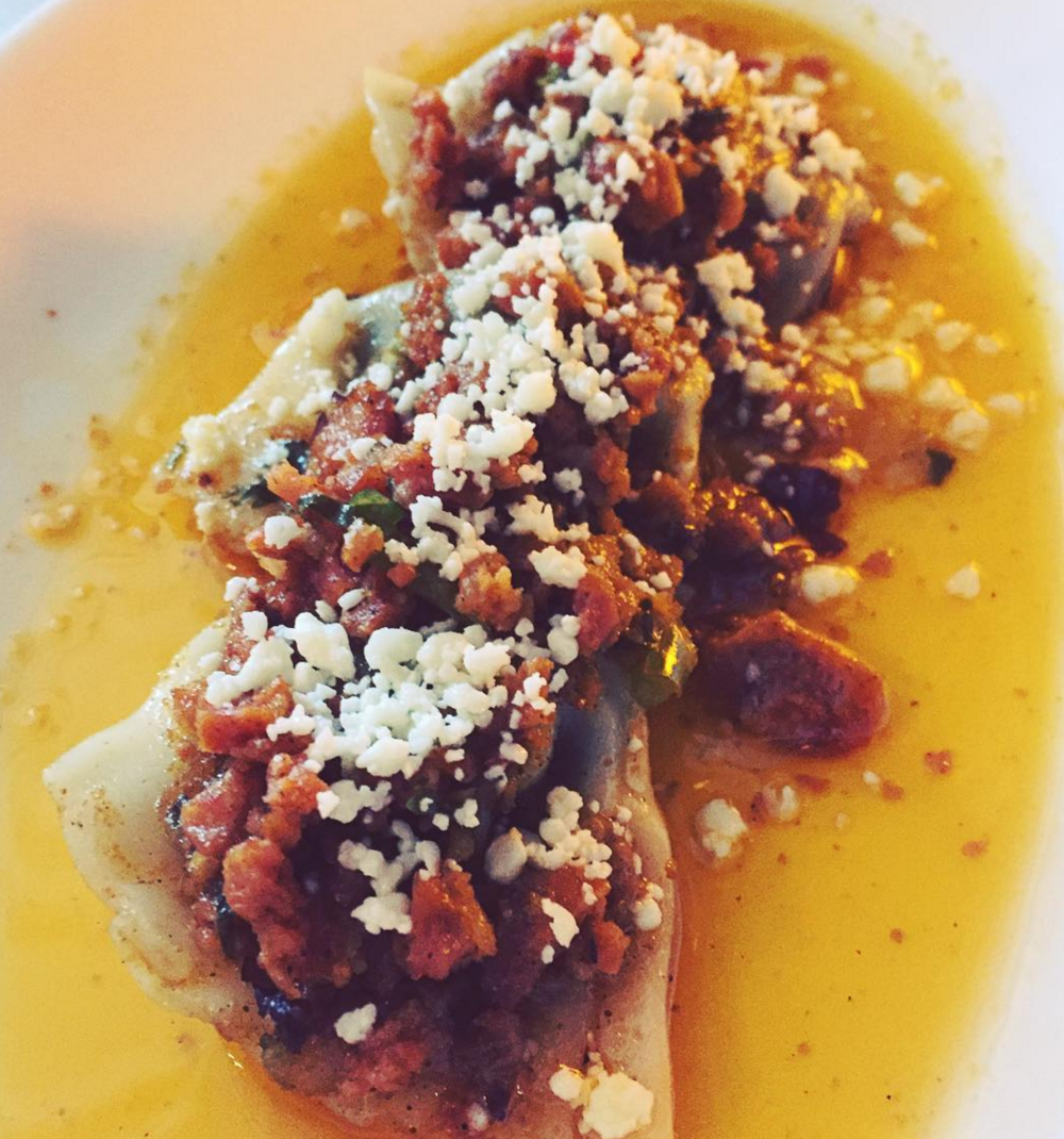 Pinto bean ravioli w/chorizo at Union Restaurant. Photo by @finickyfoodie on Instagram