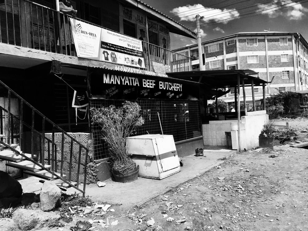 The butchery where some of IAMercy's street boys rest for the night. They sleep in the outer area.