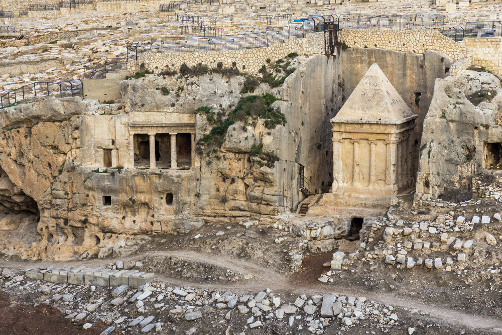 The Tomb of Zechariah in the Kidron Valley, Jerusalem.  It was built in the first century.  Perhaps Jesus had this monument, or something like it, in mind in Luke 11.