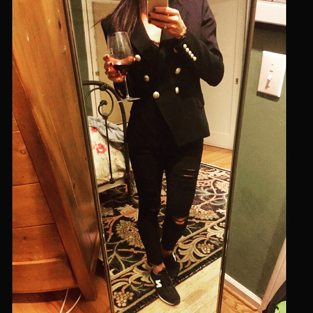 So Hannuka came early for me...New @balmainparis double breasted blazer has joined the ranks. ✔️ And this Pinot ain't bad either. 🍷 #style #stylist #danistyle #balmainparis #fashion #fashionstylist #whatiwore #fashiondiaries #fallstyle #balmain