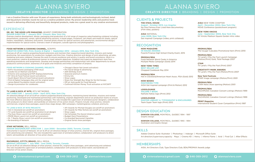 Resume Alanna Siviero Creative Director