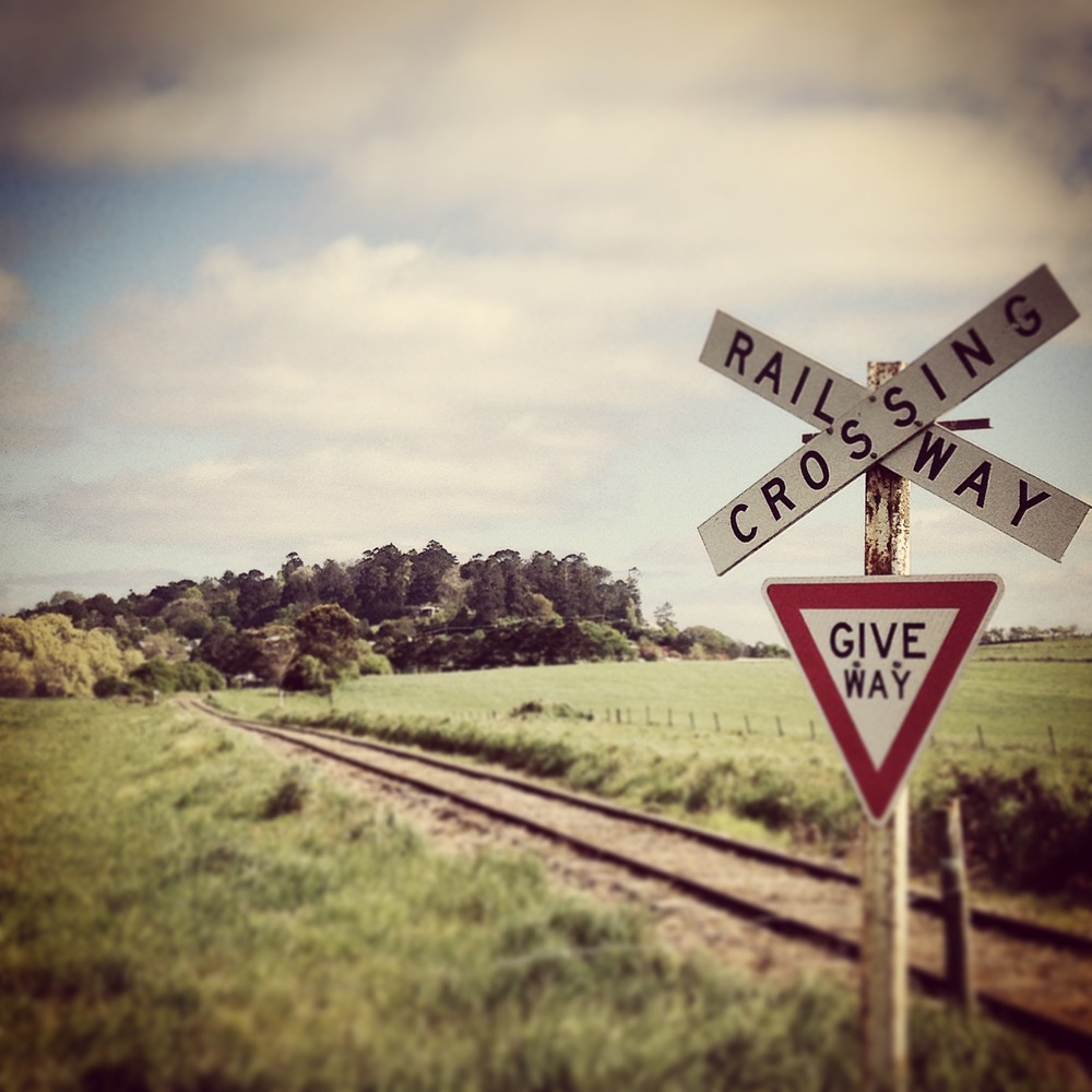 I love that hill. It's Wombat Hill in Daylesford. It's an old volcano, crowned in a beautiful Botanic Garden. This old train track is the line between Daylesford and Bullarto. Needless to say we didn't have to give way to a train, wayward cow or wombat on our morning walk today.