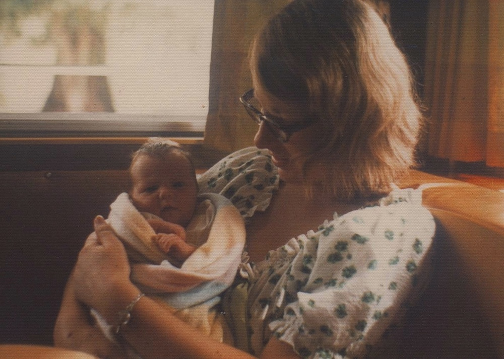 Here I am with mum in our rad caravan. c1973.