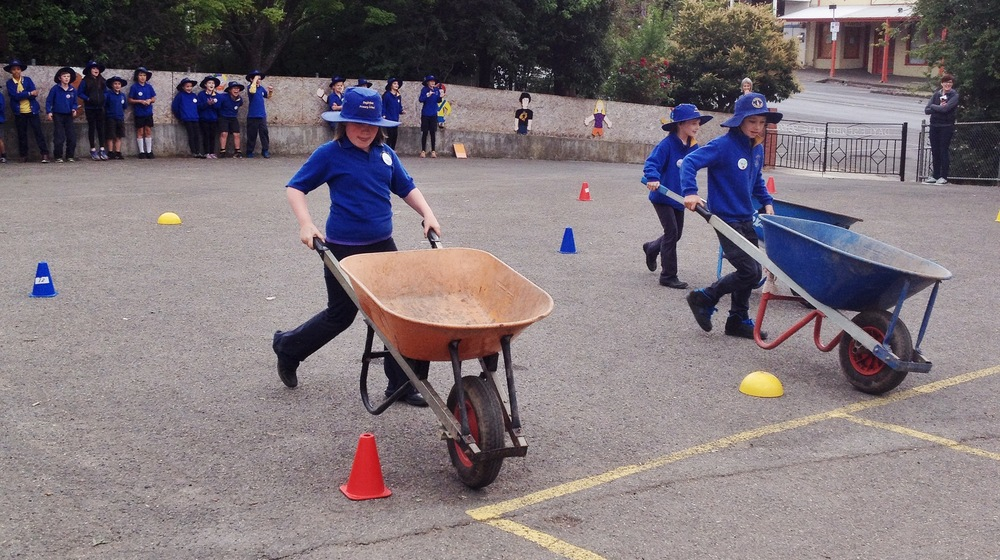 High stakes in the end-of-year Kitchen Garden Olympic Wheelbarrow races!