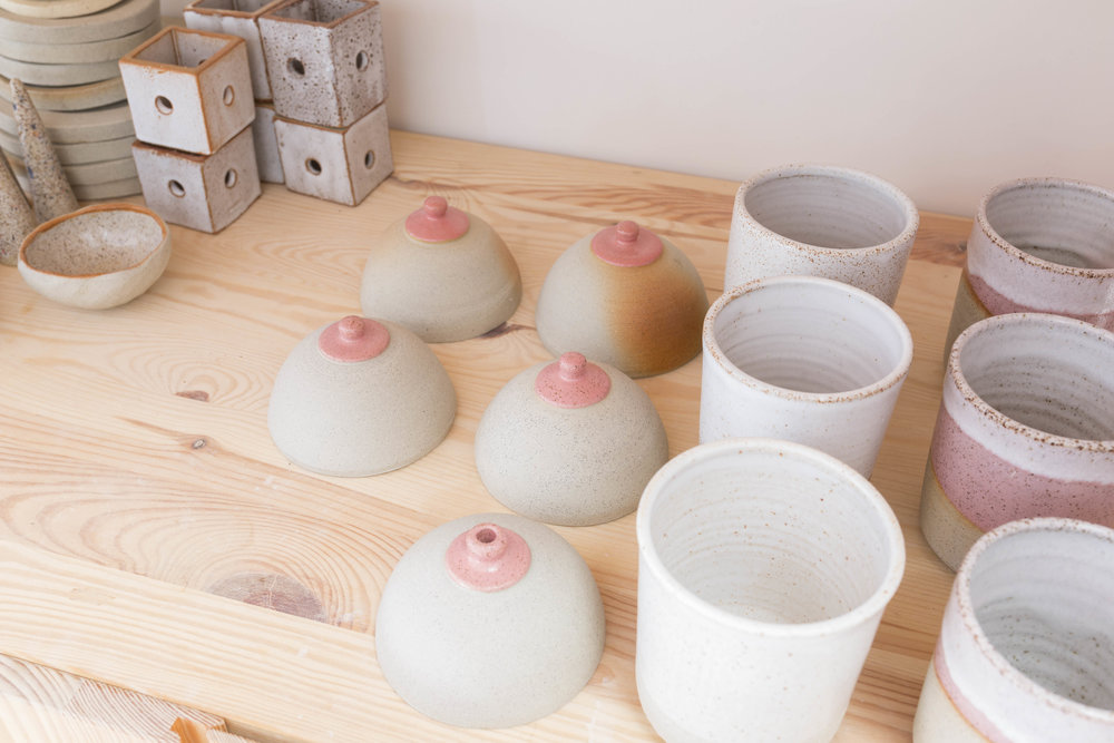 Boob vases and boxes by ceramicist Chela Edmunds of Takeawei. Rented Space