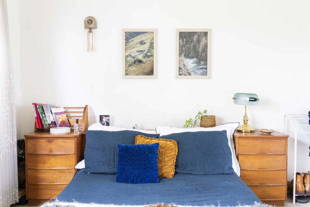 Bed linen by Scottie Store, framed photographs of New Zealand landscape by Isabel Sylvie. Photo by Dan Soderstrom for Rented Space.