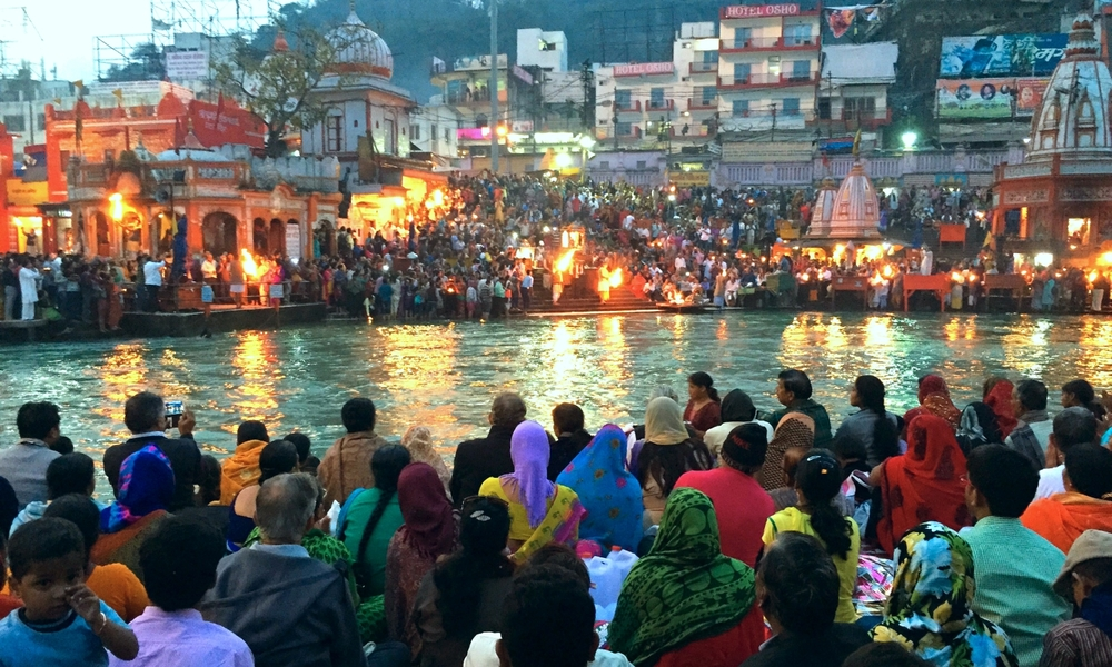 Ganga Aarti ceremony in Haridwar, India.
