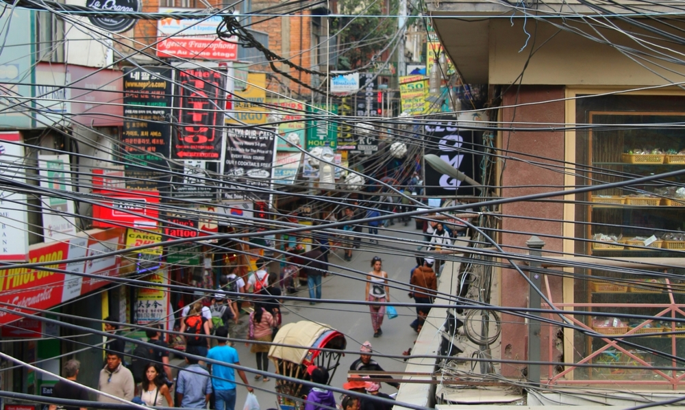 Electric wire chaos in Kathmandu, Nepal.