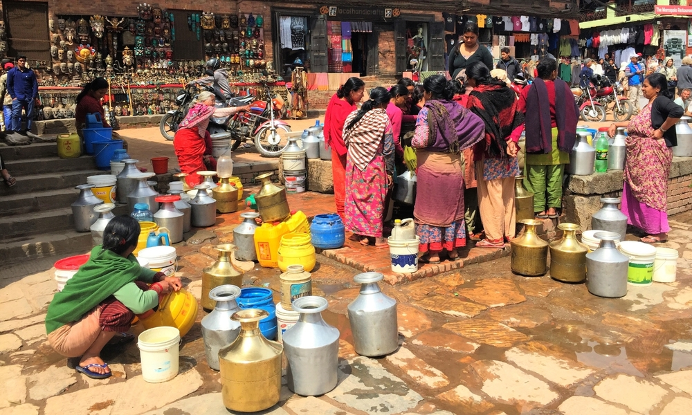 The women collecting their water from a pump in Bhaktapur, Nepal.