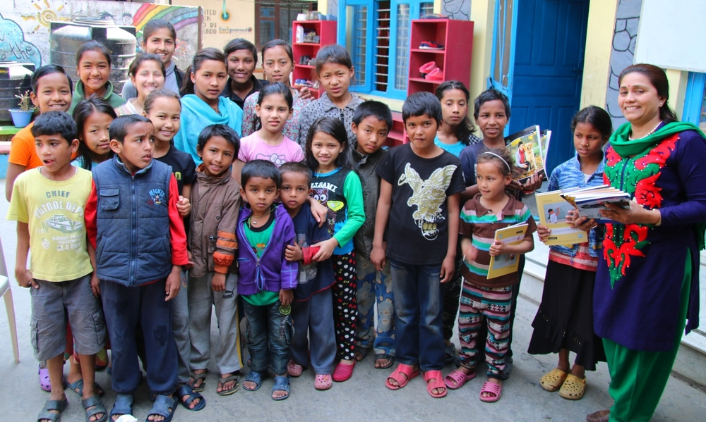 Goma and some of the children from the Rainbow Children Home Nepal.