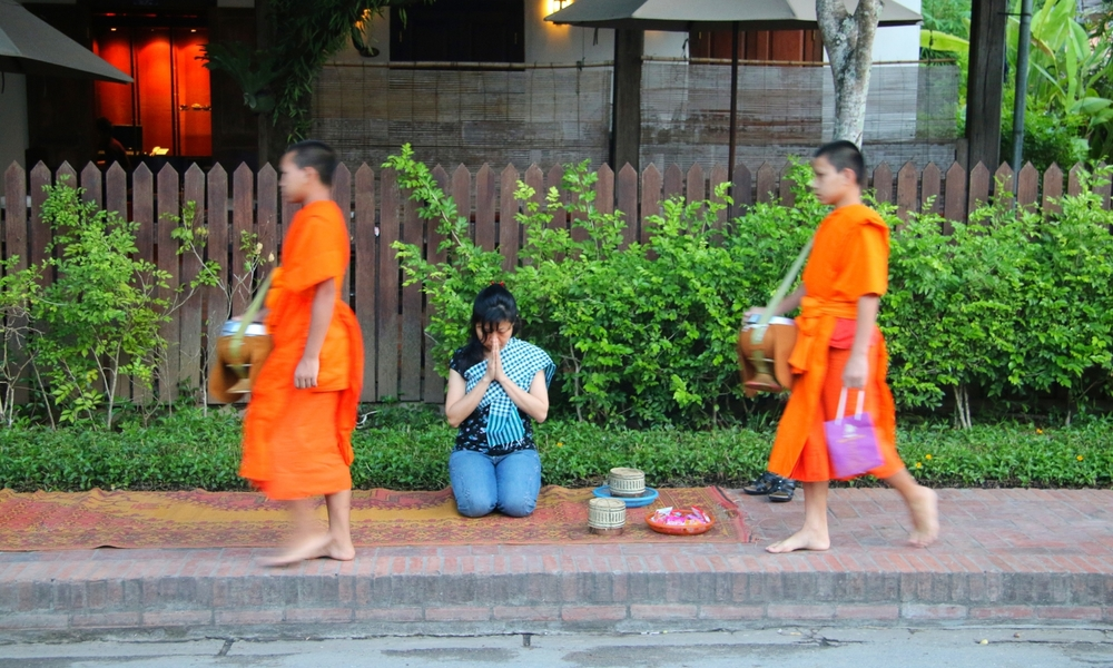 Monks and the Alms giving ceremony in Luang Prabang.