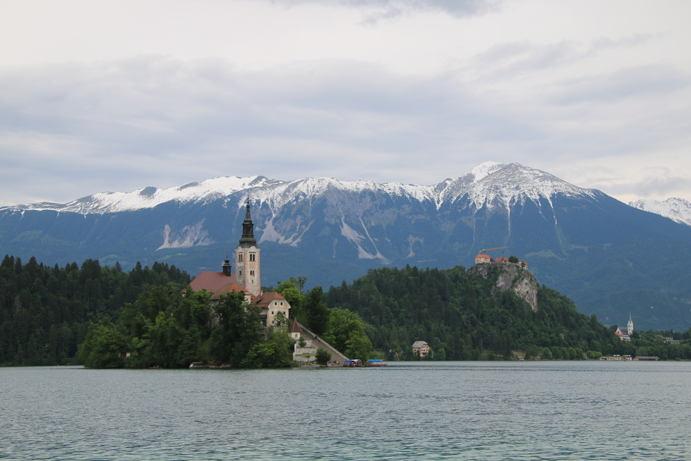 The Alps from Lake Bled, Slovenia.