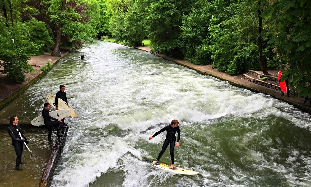 Eisbach River Surfing, Munich.