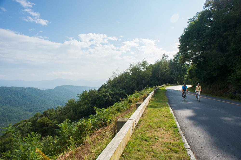 Biking on the BlueRidge parkway near Lane Pinnacle