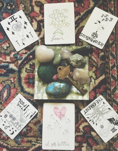 The Lioness Oracle's spread for September. She uses Mary Evan's Spirit Speak tarot cards.