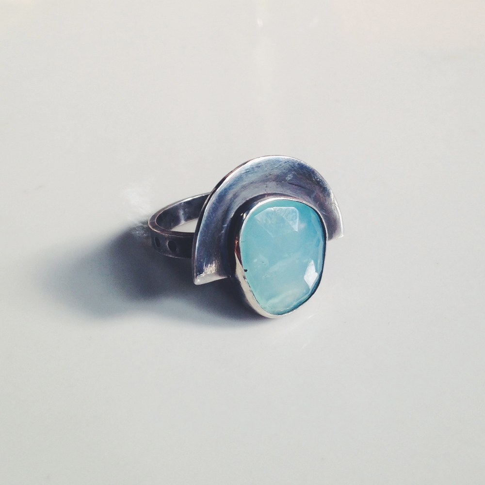 chrysoprase fan ring