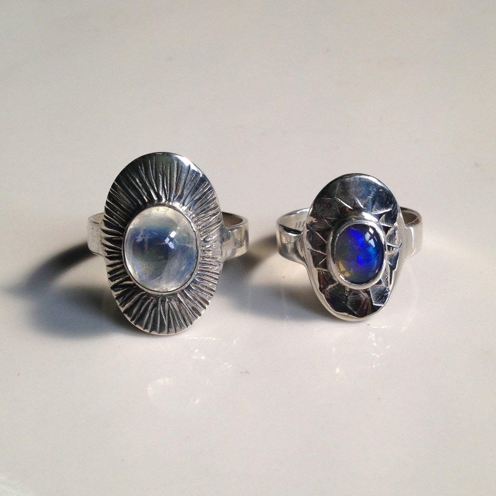 radial stamped moonstone rings