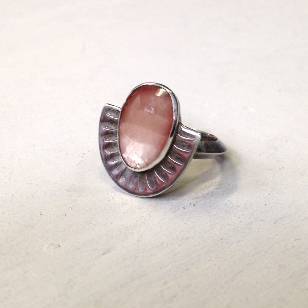 peach moonstone shield ring