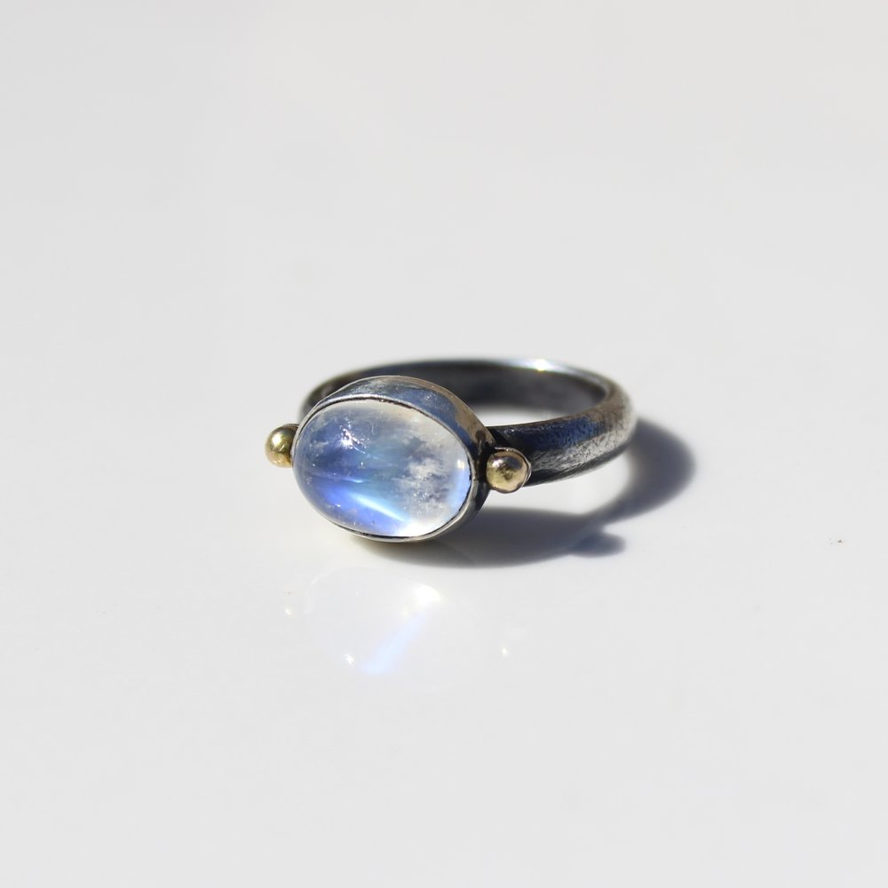 moonstone double dot ring