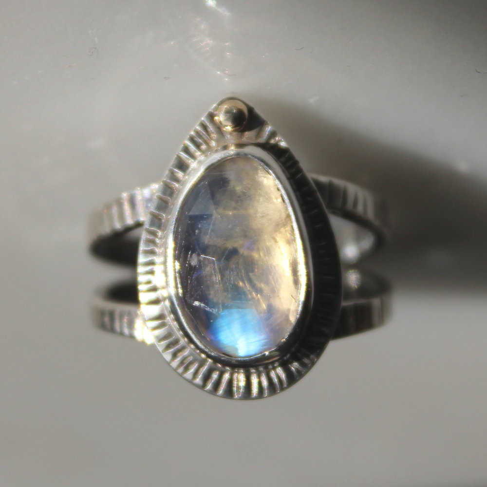 notched moonstone ring