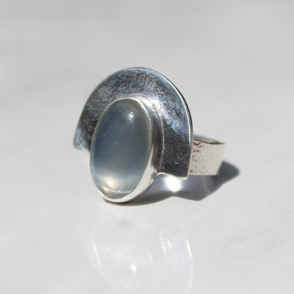grey moonstone shield ring