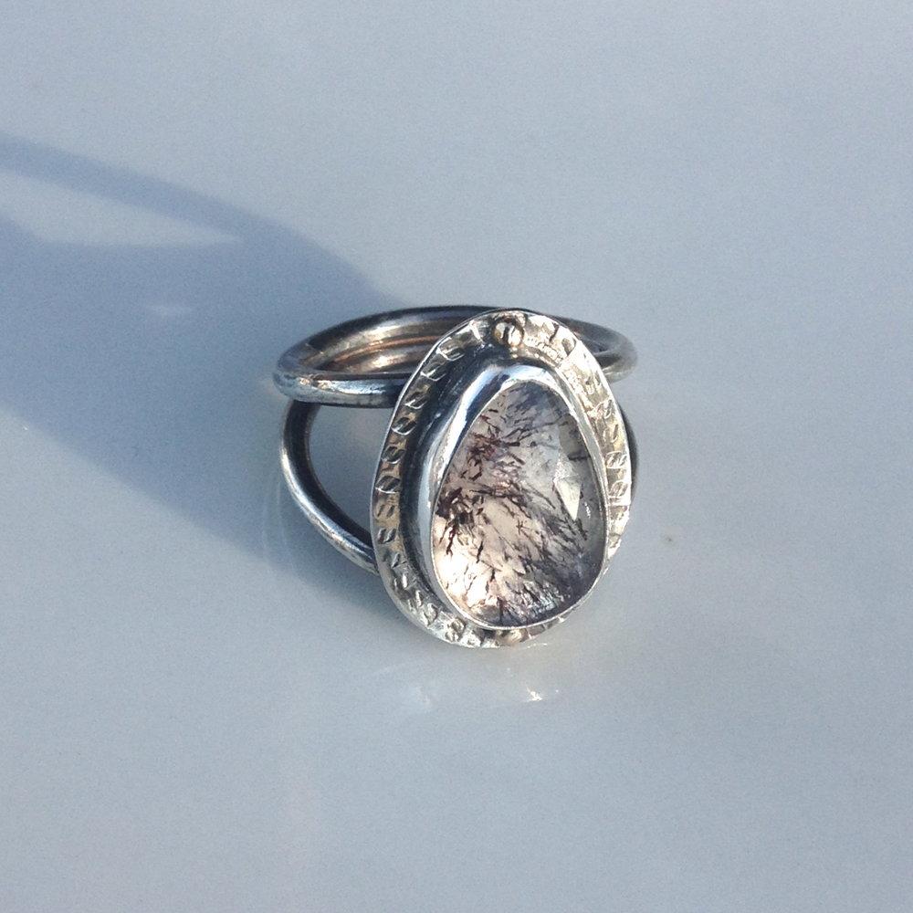 quartz w/ mineral inclusion ring
