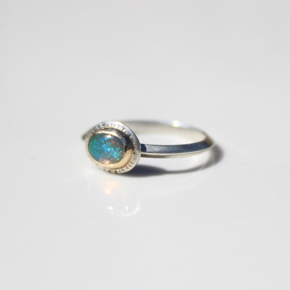 green glow opal ring