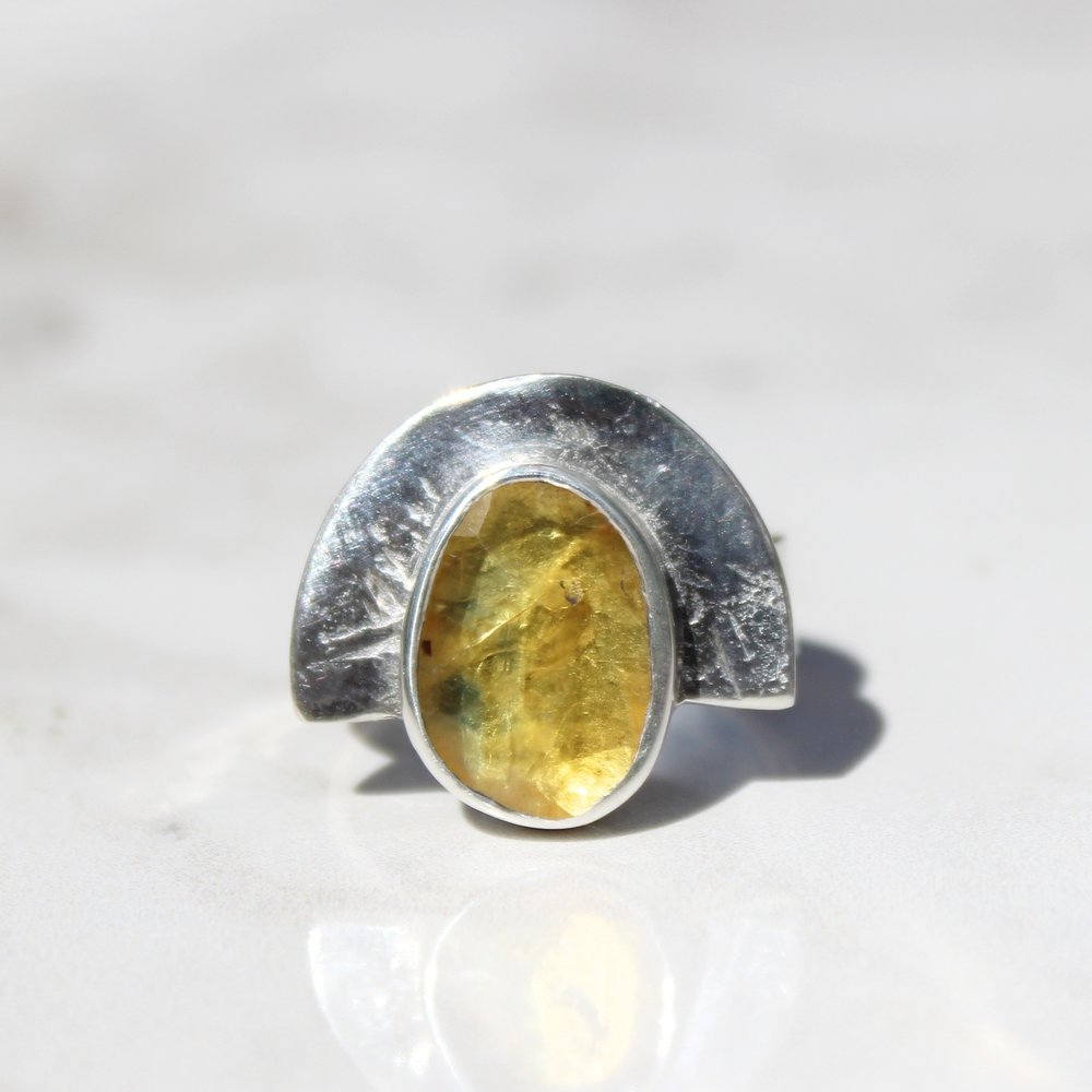 yellow sapphire shield ring