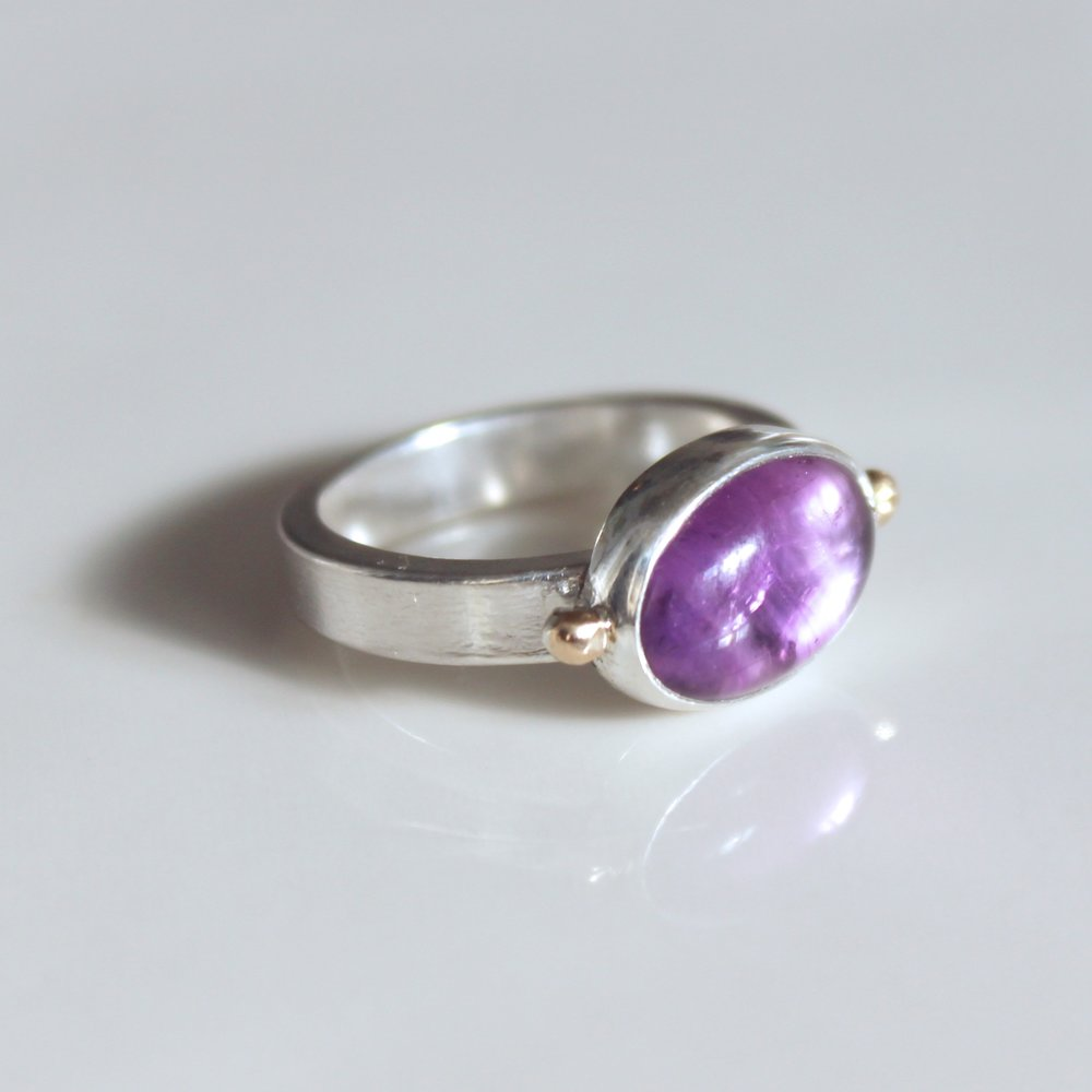 amethyst double dot ring