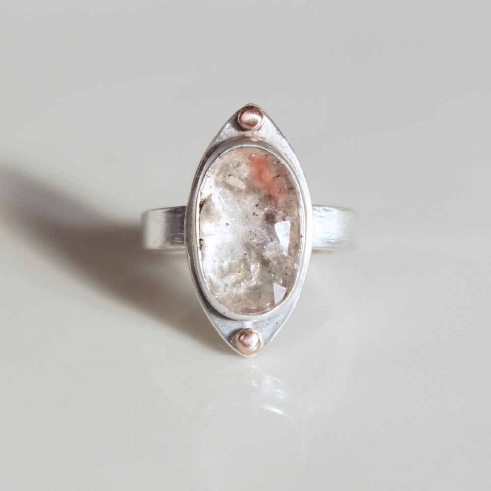 quartz double dot ring