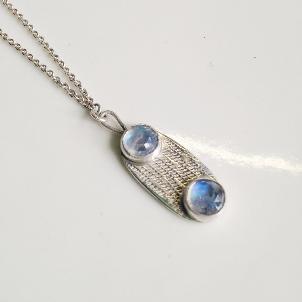 moonstone double dot necklace