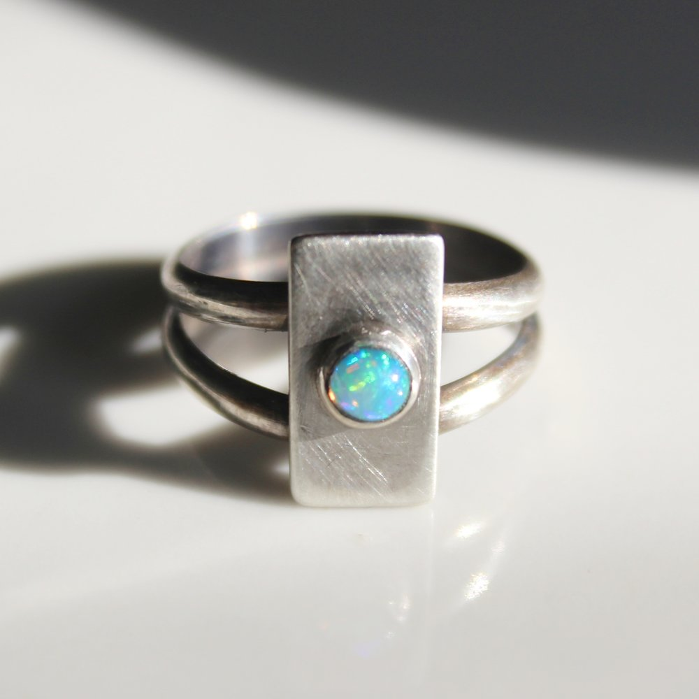 opal button ring